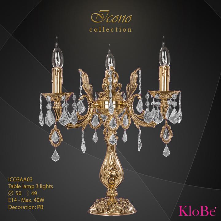 Luminaria de sobremesa 3 luces - Colección Icono - KloBe Classic