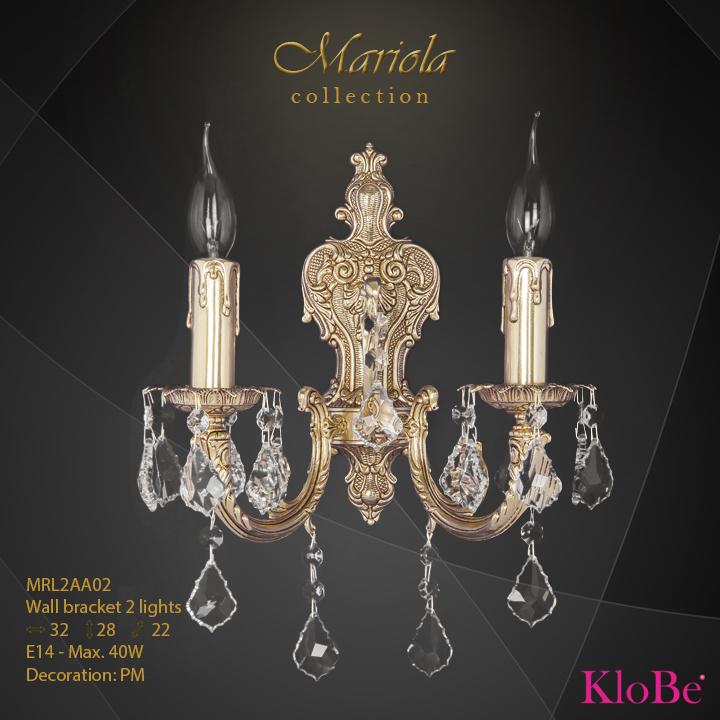 Aplique de pared 2 luces - colección Mariola - KloBe Classic