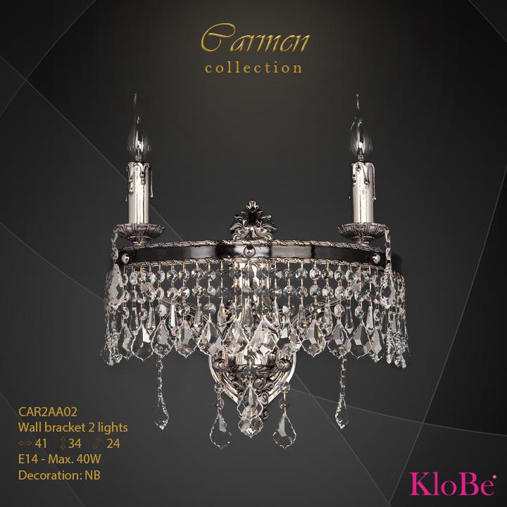 Aplique de pared de 2 luces - Colección Carmen - KloBe Classic