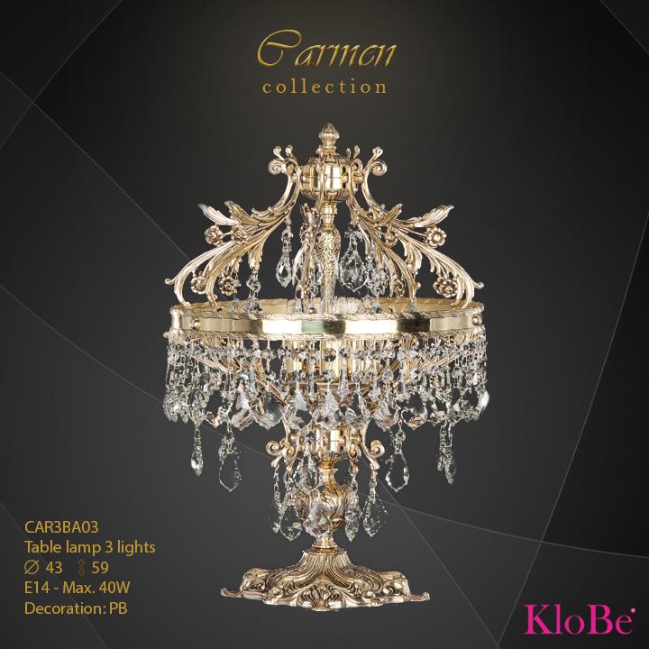 Luminaria de sobremesa de 3 luces - Colección Carmen - KloBe Classic
