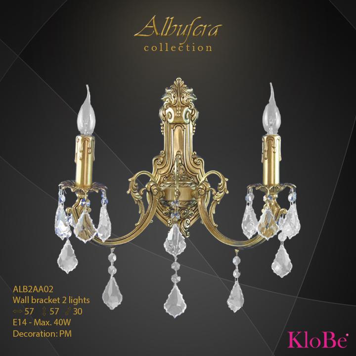 Aplique de pared de 2 luces - Colección Albufera - KloBe Classic