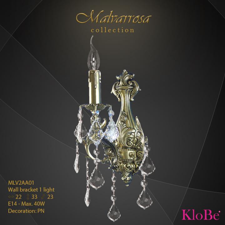 Aplique de pared 1 luz - Colección Malvarrosa - KloBe Classic