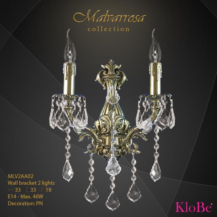 Aplique de pared 2 luces - Colección Malvarrosa - KloBe Classic