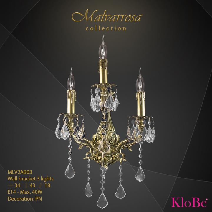 Aplique de pared 3 luces - Colección Malvarrosa - KloBe Classic