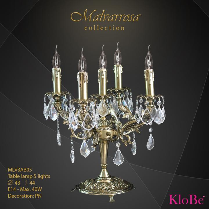Luminaria de sobremesa 5 luces - Colección Malvarrosa - KloBe Classic
