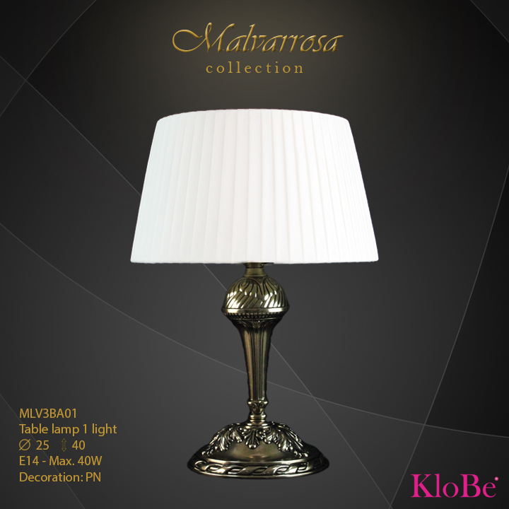 Luminaria de sobremesa 1 luz - Colección Malvarrosa - KloBe Classic