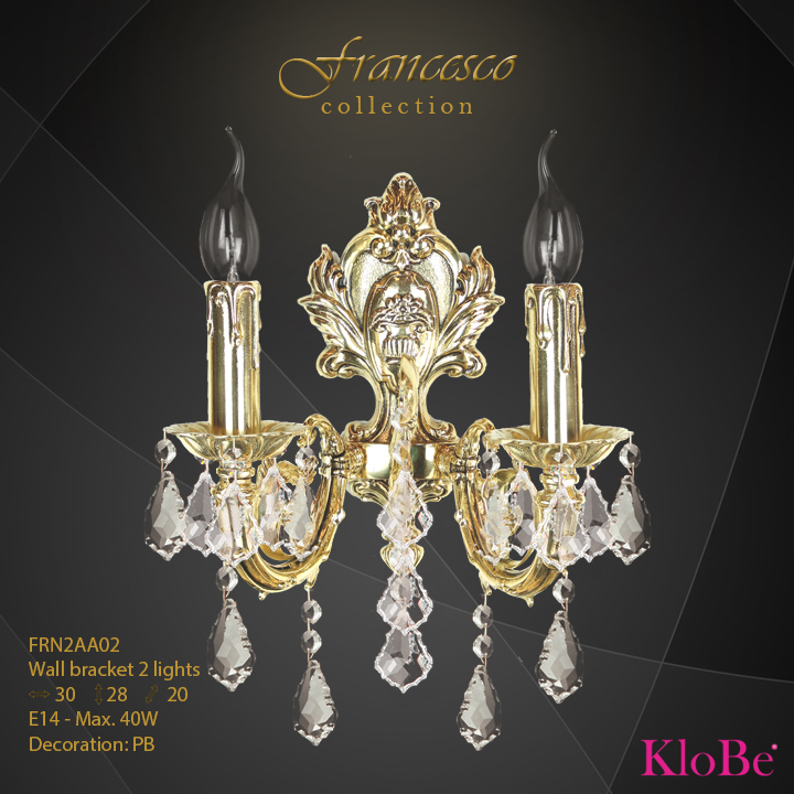 Aplique de pared 2 luces - Colección Francesco - KloBe Classic