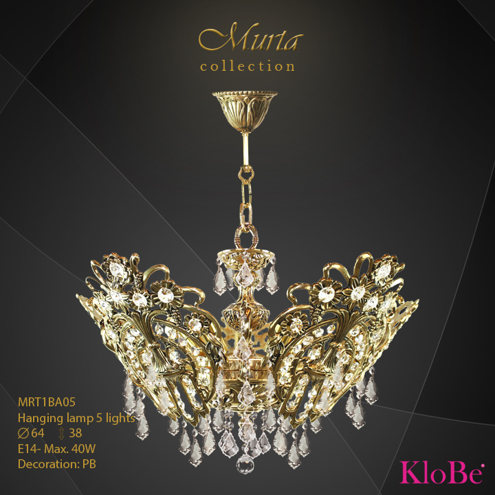 MRT1BA05 -Hanging lamp 5 L Murta collection KloBe Classic