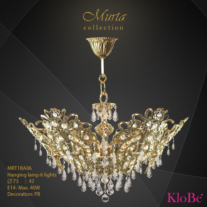 MRT1BA06 -Hanging lamp 6 L Murta collection KloBe Classic