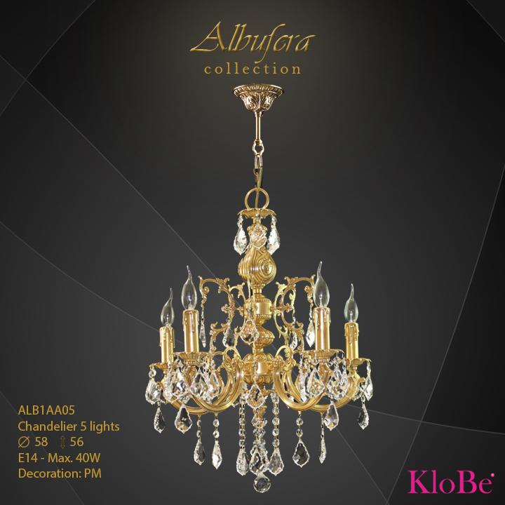 ALB1AA05- Chandelier 5 L  ALBUFERA collection KloBe Classic