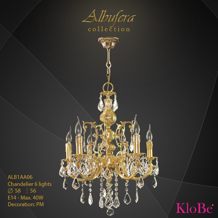 ALB1AA06- Chandelier 6 L  ALBUFERA collection KloBe Classic