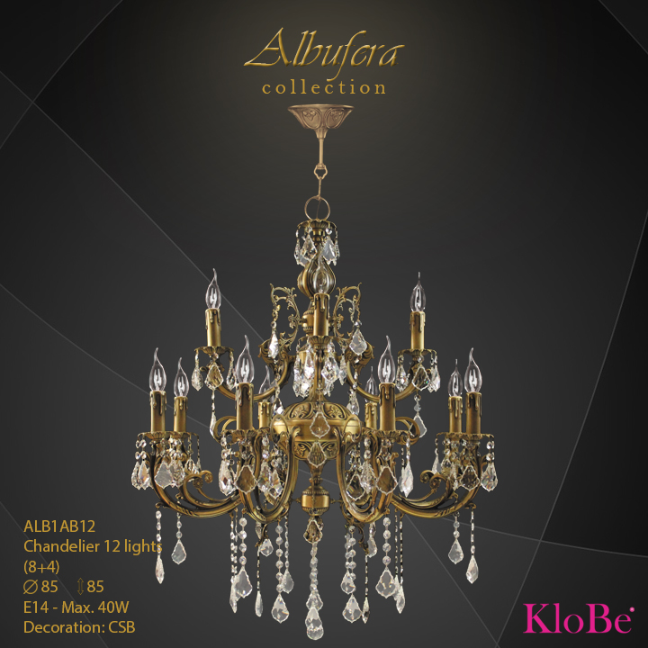 ALB1AB12- Chandelier 12 L  ALBUFERA collection KloBe Classic