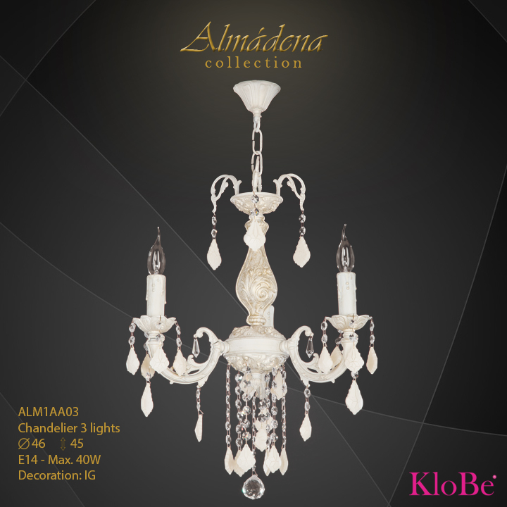 ALM1AA03- Chandelier 3 L  Almadena collection KloBe Classic