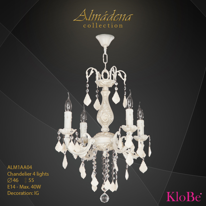 ALM1AA04- Chandelier 4 L  Almadena collection KloBe Classic