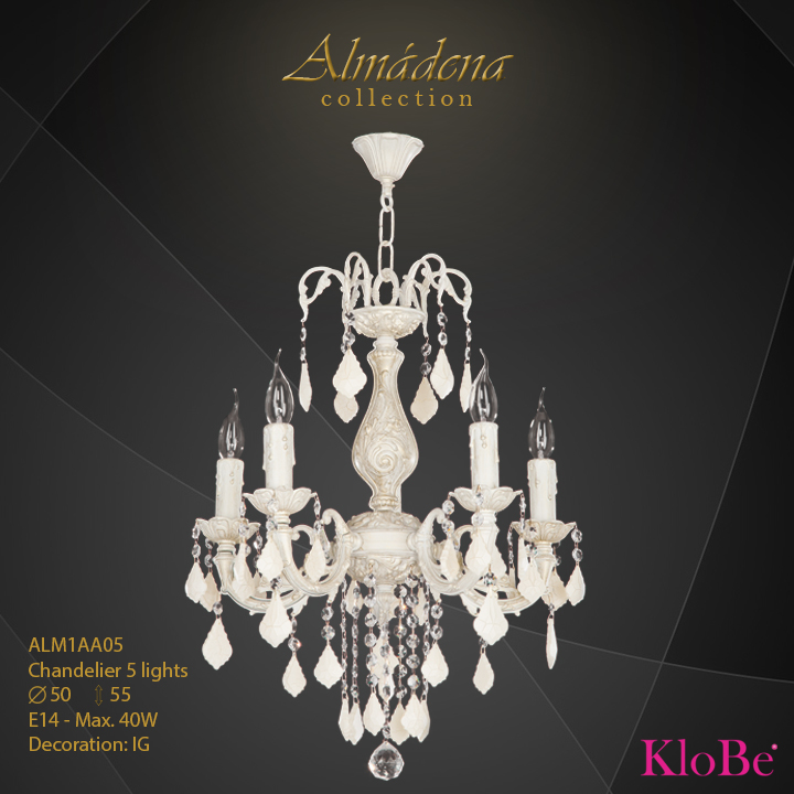 ALM1AA05- Chandelier 5 L  Almadena collection KloBe Classic