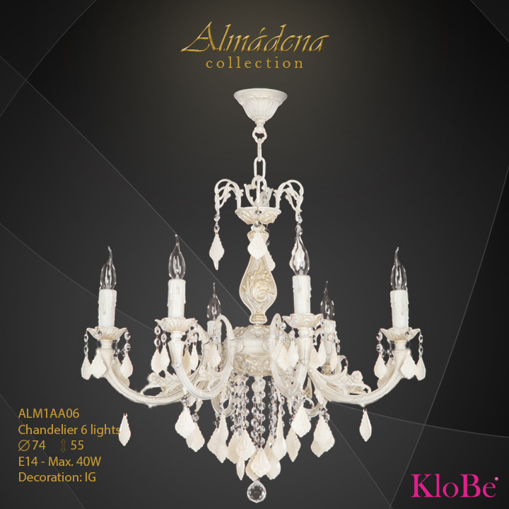 ALM1AA06- Chandelier 6 L  Almadena collection KloBe Classic