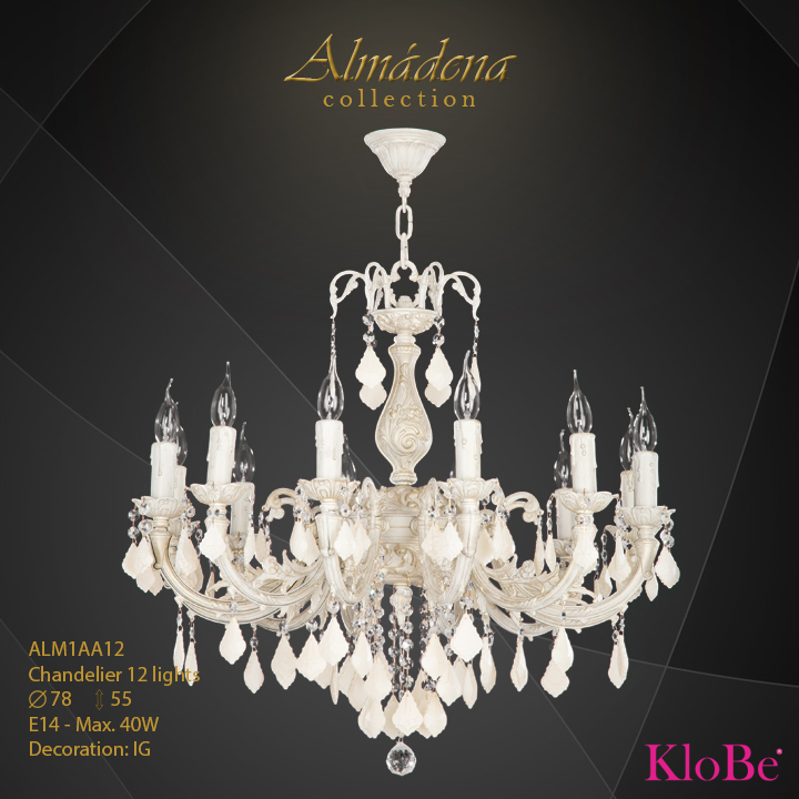ALM1AA12- Chandelier 12 L  Almadena collection KloBe Classic
