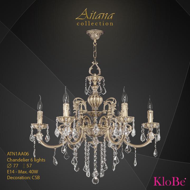 ATN1AA06- Chandelier 6 L  Aitana collection KloBe Classic