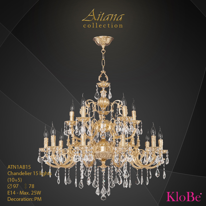 ATN1AB15- Chandelier 15 L  Aitana collection KloBe Classic