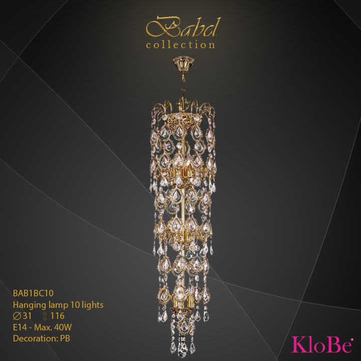 BAB1BC10 - Hanging lamp 10 L  Babel collection KloBe Classic