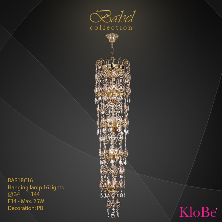 BAB1BC16 - Hanging lamp 16 L  Babel collection KloBe Classic
