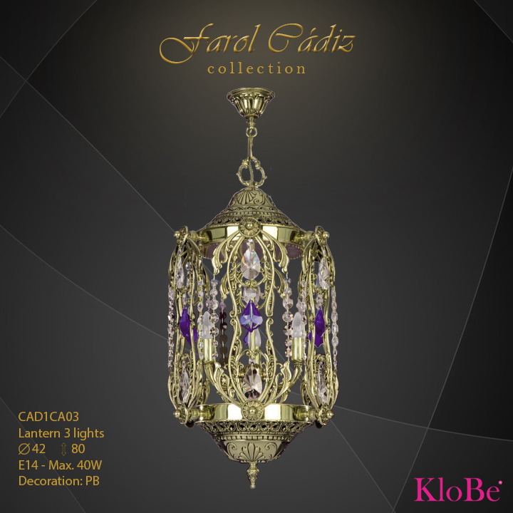 CAD1CA03 -Lantern 3 L Faroles collection KloBe Classic