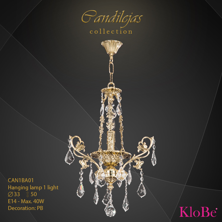 CAN1BA01 - Hanging Lamp 1 L Candilejas collection KloBe Classic