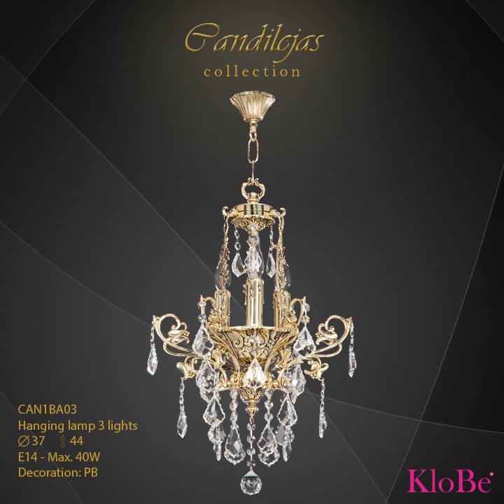 CAN1BA03 - Hanging Lamp 3 L Candilejas collection KloBe Classic