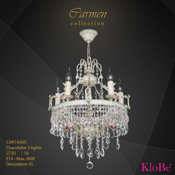 CAR1AA05 - Chandelier 5 L Carmen collection KloBe Classic