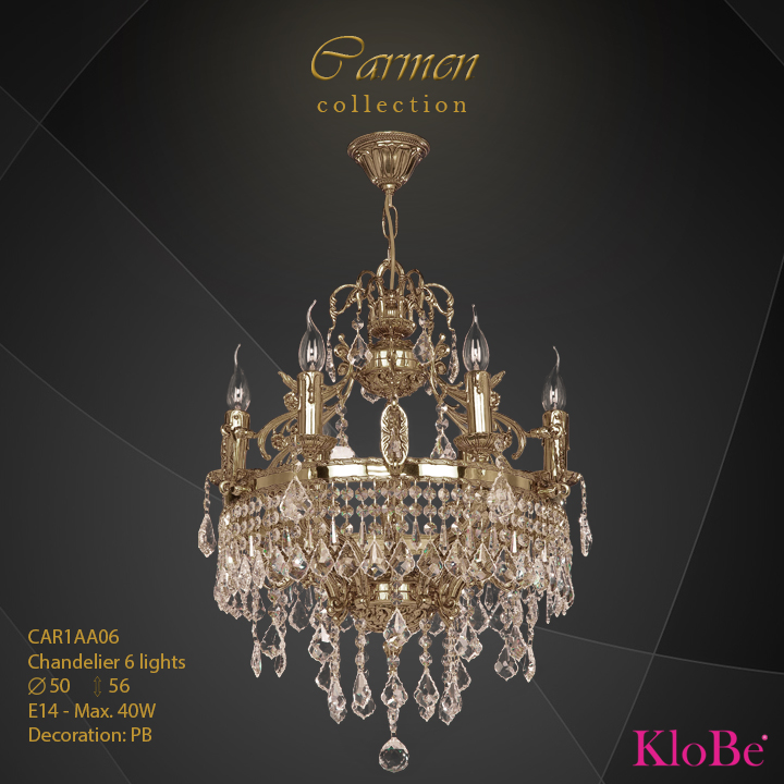 CAR1AA06 - Chandelier 6 L Carmen collection KloBe Classic