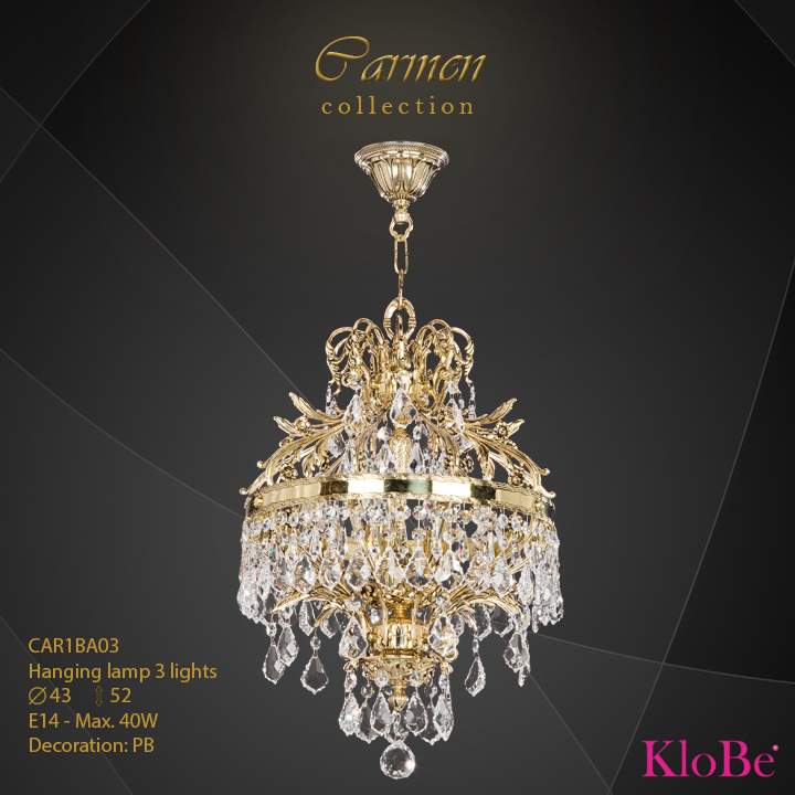 CAR1BA03 - Hanging lamp 3 L Carmen collection KloBe Classic