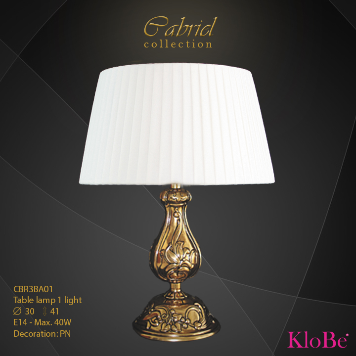 CBR3BA01 - Table Lamp 1 L Cabriel collection KloBe Classic