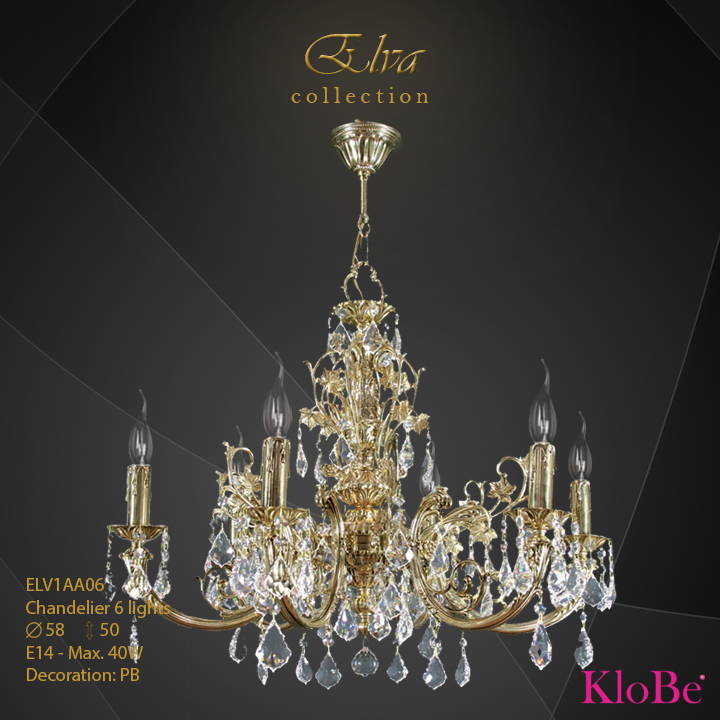 ELV1AA06 - Chandelier 6 L Elva collection KloBe Classic
