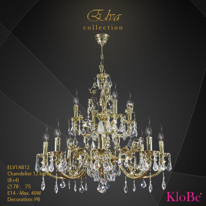 ELV1AB12 - Chandelier 12 L Elva collection KloBe Classic