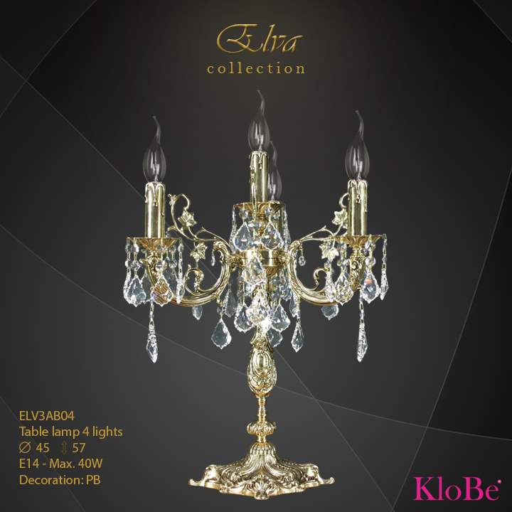 ELV3AB04 - Table lamp 4 L Elva collection KloBe Classic