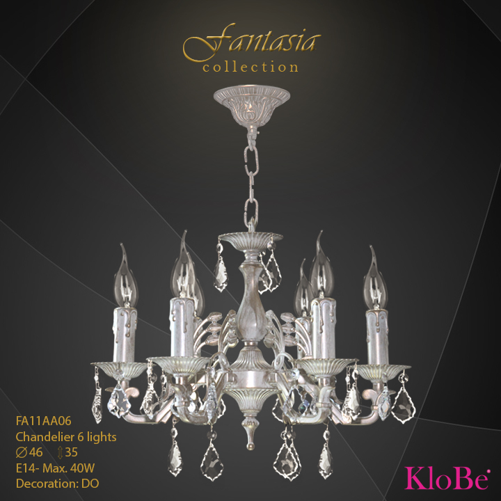 FA11AA06 -CHANDELIER  6L  Fantasia collection KloBe Classic