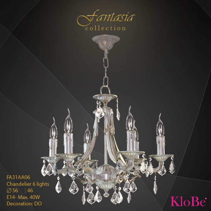 FA31AA06 -CHANDELIER  6L  Fantasia collection KloBe Classic