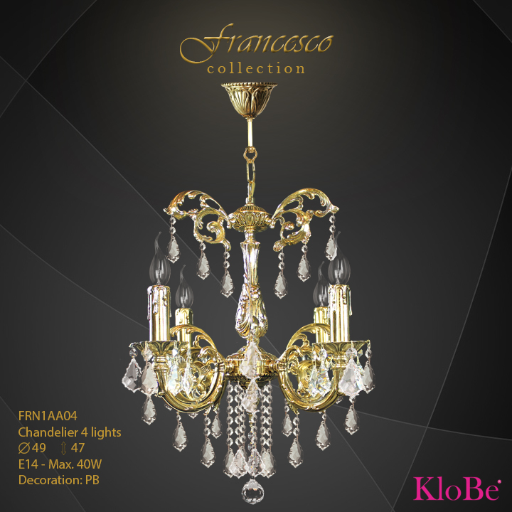 FRN1AA04 -Chandelier 4 L Francesco collection KloBe Classic