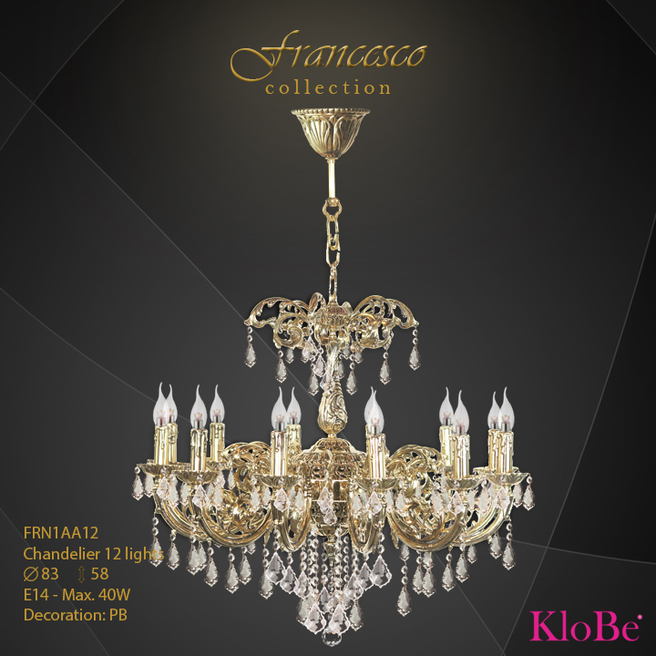 FRN1AA12 -Chandelier 12 L Francesco collection KloBe Classic