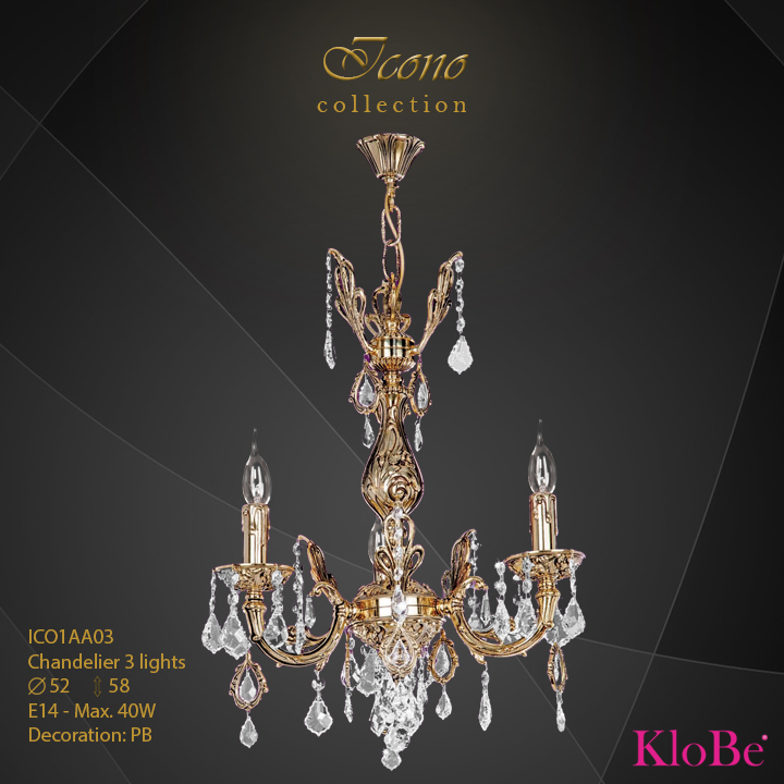 ICO1AA03 - Chandelier 3 L Icono collection KloBe Classic