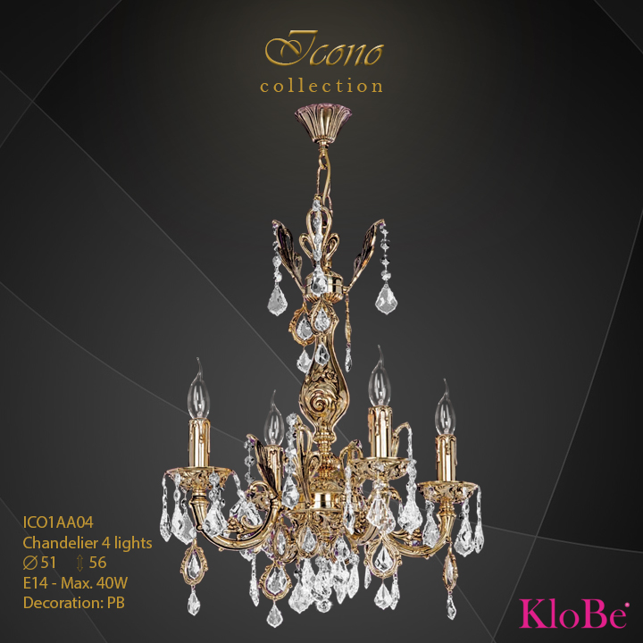ICO1AA04 - Chandelier 4 L Icono collection KloBe Classic