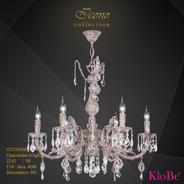 ICO1AA06 - Chandelier 6 L Icono collection KloBe Classic