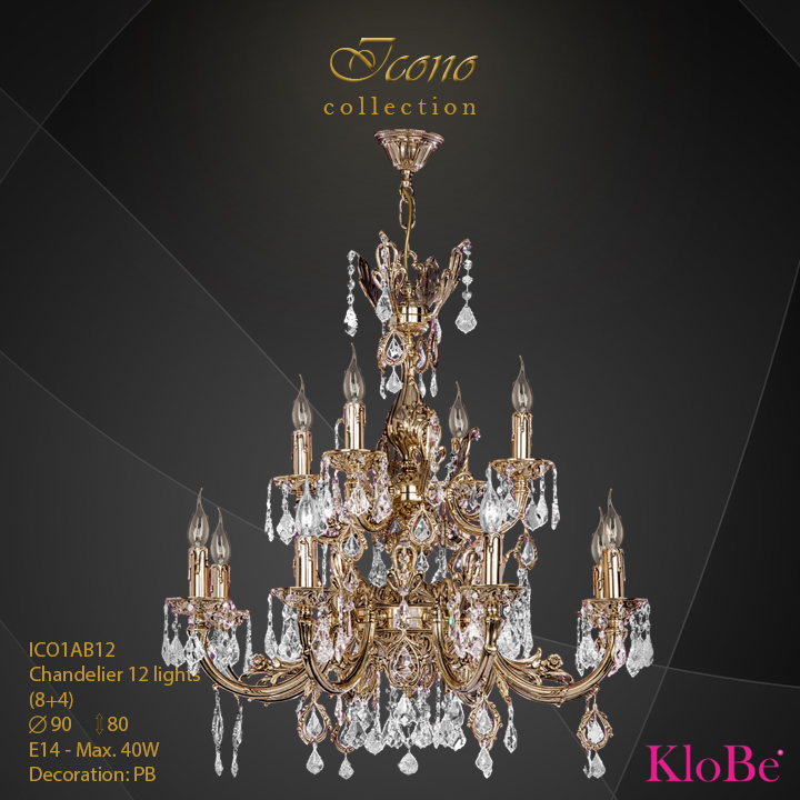 ICO1AB12 - Chandelier 12 L Icono collection KloBe Classic