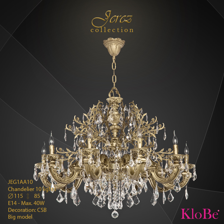 JEG1AA10 - Chandelier 10 L Jerez collection KloBe Classic