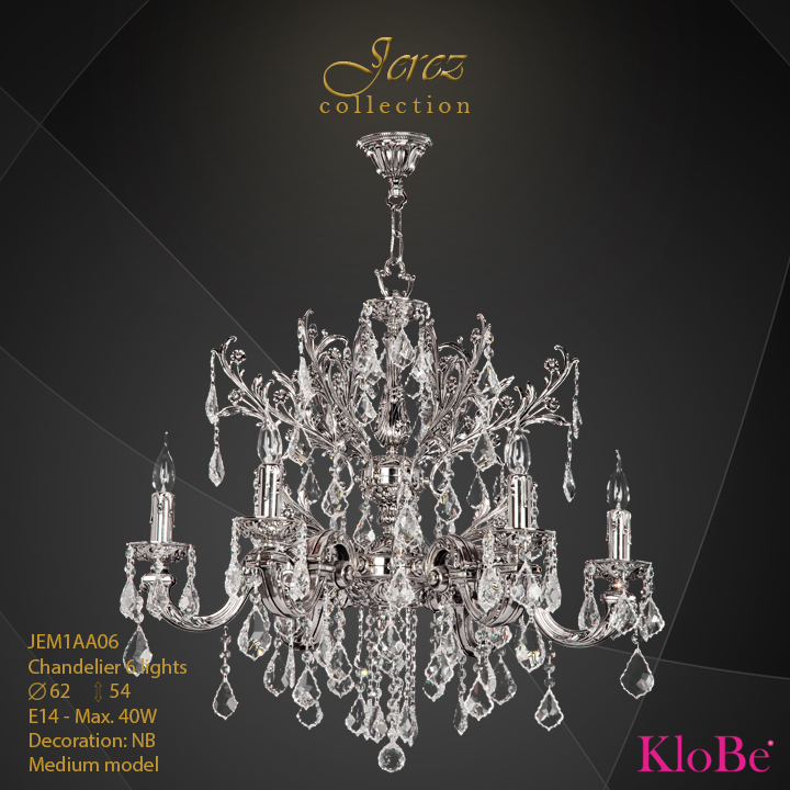 JEM1AA06 - Chandelier 6 L Jerez collection KloBe Classic
