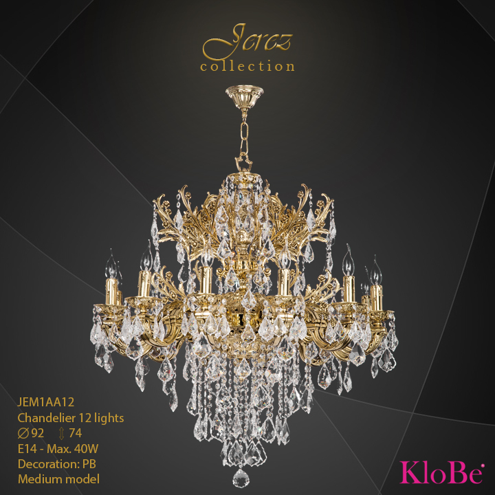 JEM1AA12 - Chandelier 12 L Jerez collection KloBe Classic