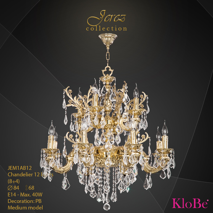 JEM1AB12 - Chandelier 12 L Jerez collection KloBe Classic