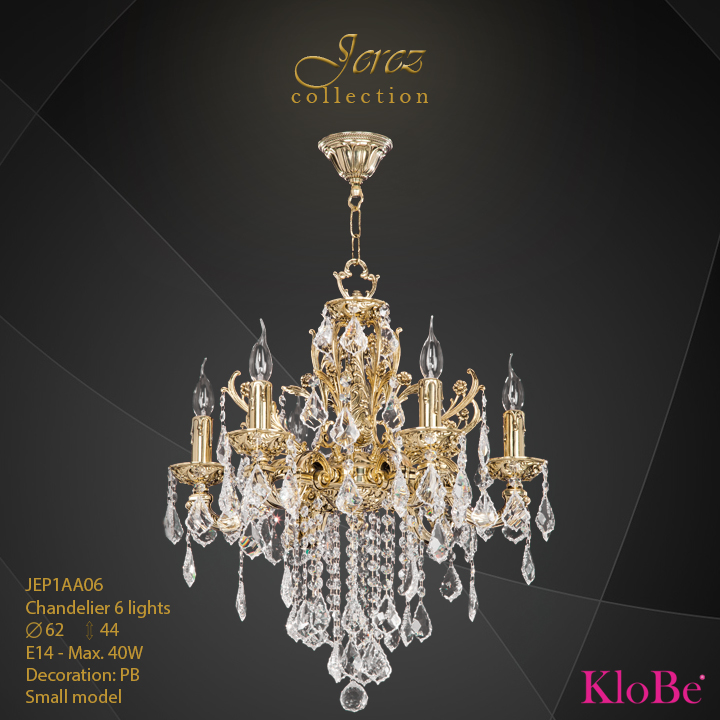 JEP1AA06 - Chandelier 6 L Jerez collection KloBe Classic