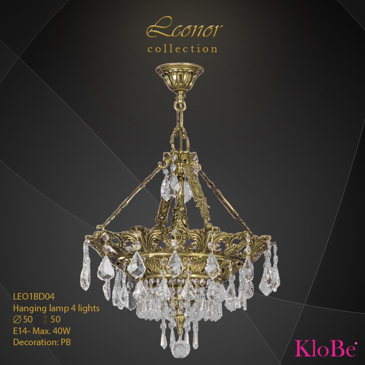 LEO1BD04 - Hanging lamp 4 L Leonor collection KloBe Classic