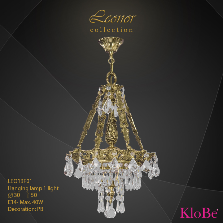 LEO1BF01- Hanging lamp 1 L Leonor collection KloBe Classic